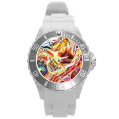 Colourful Abstract Background Design Round Plastic Sport Watch (L)