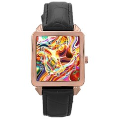 Colourful Abstract Background Design Rose Gold Leather Watch