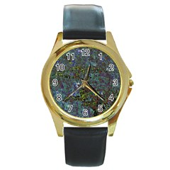 Stone Paints Texture Pattern Round Gold Metal Watch