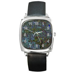 Stone Paints Texture Pattern Square Metal Watch