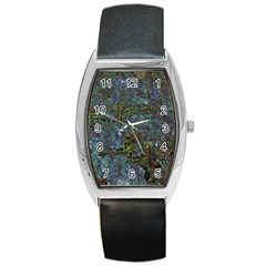 Stone Paints Texture Pattern Barrel Style Metal Watch