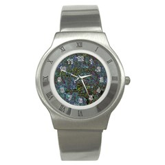 Stone Paints Texture Pattern Stainless Steel Watch