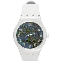 Stone Paints Texture Pattern Round Plastic Sport Watch (M)