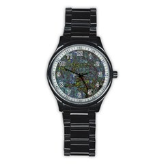 Stone Paints Texture Pattern Stainless Steel Round Watch