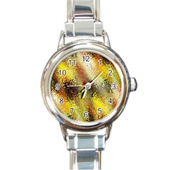 Multi Colored Seamless Abstract Background Round Italian Charm Watch