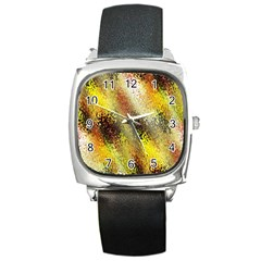Multi Colored Seamless Abstract Background Square Metal Watch