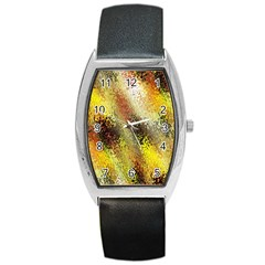 Multi Colored Seamless Abstract Background Barrel Style Metal Watch