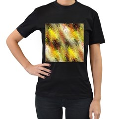 Multi Colored Seamless Abstract Background Women s T-Shirt (Black) (Two Sided)