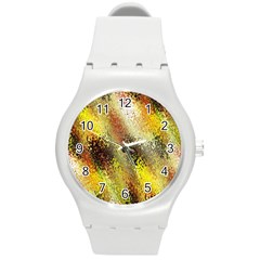 Multi Colored Seamless Abstract Background Round Plastic Sport Watch (M)