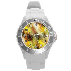 Multi Colored Seamless Abstract Background Round Plastic Sport Watch (L)