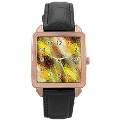 Multi Colored Seamless Abstract Background Rose Gold Leather Watch