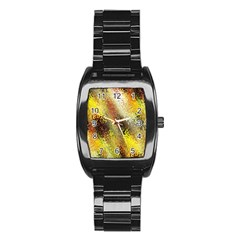 Multi Colored Seamless Abstract Background Stainless Steel Barrel Watch