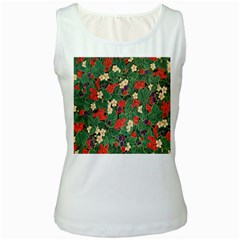 Berries And Leaves Women s White Tank Top