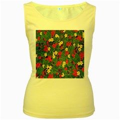 Berries And Leaves Women s Yellow Tank Top