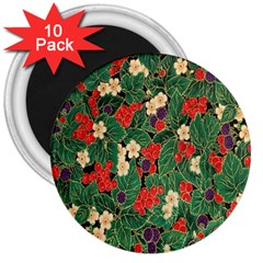 Berries And Leaves 3  Magnets (10 Pack)