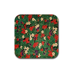 Berries And Leaves Rubber Coaster (square)
