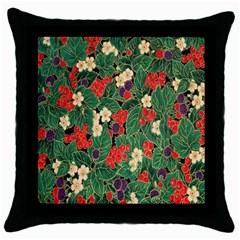 Berries And Leaves Throw Pillow Case (Black)