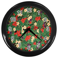 Berries And Leaves Wall Clocks (black)