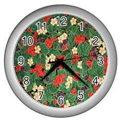Berries And Leaves Wall Clocks (Silver)