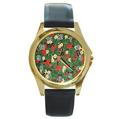 Berries And Leaves Round Gold Metal Watch