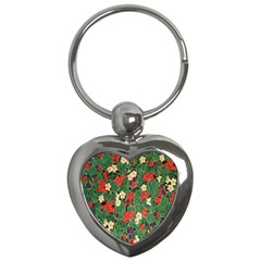 Berries And Leaves Key Chains (heart)