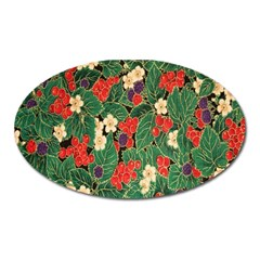 Berries And Leaves Oval Magnet