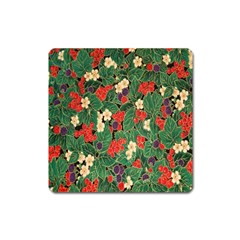 Berries And Leaves Square Magnet