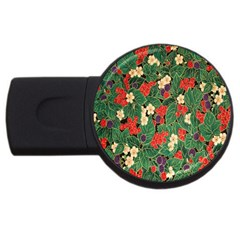Berries And Leaves USB Flash Drive Round (1 GB)