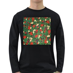 Berries And Leaves Long Sleeve Dark T Shirts