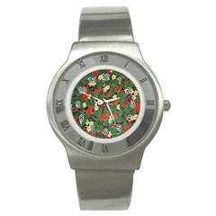 Berries And Leaves Stainless Steel Watch
