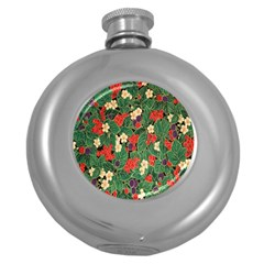 Berries And Leaves Round Hip Flask (5 Oz)