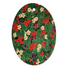 Berries And Leaves Oval Ornament (Two Sides)