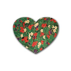 Berries And Leaves Rubber Coaster (heart)