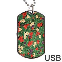 Berries And Leaves Dog Tag USB Flash (One Side)