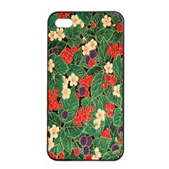 Berries And Leaves Apple iPhone 4/4s Seamless Case (Black)