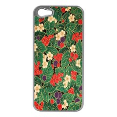 Berries And Leaves Apple iPhone 5 Case (Silver)
