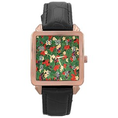 Berries And Leaves Rose Gold Leather Watch
