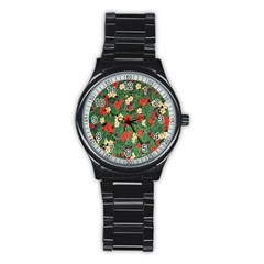 Berries And Leaves Stainless Steel Round Watch