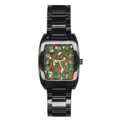 Berries And Leaves Stainless Steel Barrel Watch