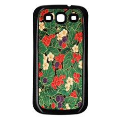 Berries And Leaves Samsung Galaxy S3 Back Case (Black)