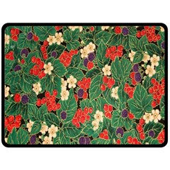 Berries And Leaves Double Sided Fleece Blanket (Large)