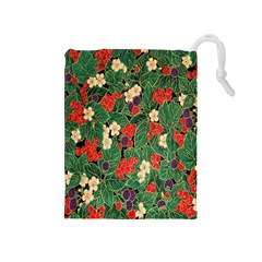 Berries And Leaves Drawstring Pouches (Medium)