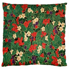 Berries And Leaves Large Flano Cushion Case (one Side)