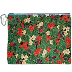Berries And Leaves Canvas Cosmetic Bag (XXXL)