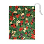 Berries And Leaves Drawstring Pouches (Extra Large) Front