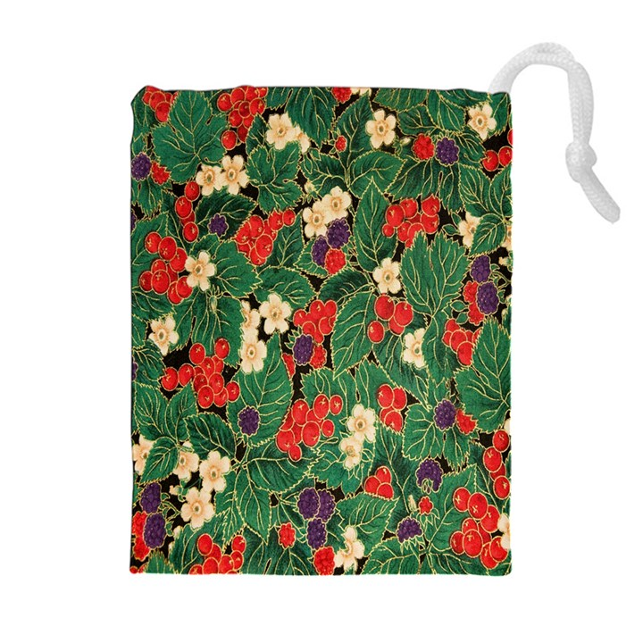 Berries And Leaves Drawstring Pouches (Extra Large)
