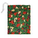 Berries And Leaves Drawstring Pouches (Extra Large) Back