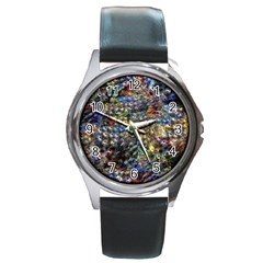 Multi Color Peacock Feathers Round Metal Watch