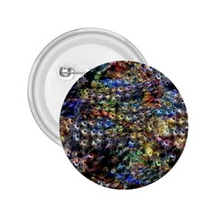 Multi Color Peacock Feathers 2.25  Buttons