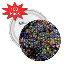 Multi Color Peacock Feathers 2 25  Buttons (100 Pack)